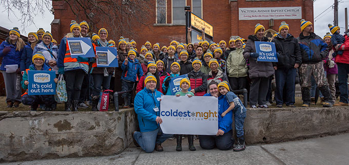 coldest night of the year walkers in Belleville